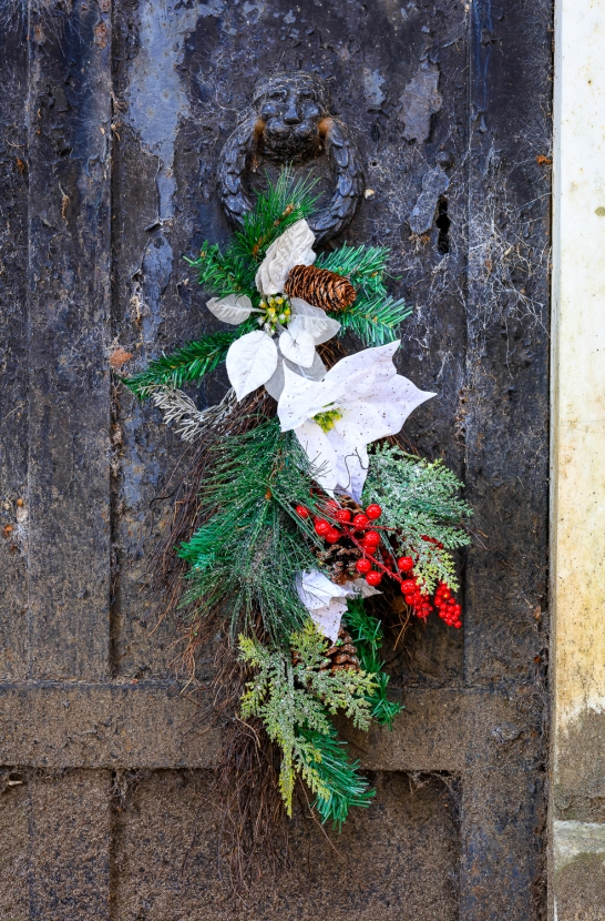 Christmas Wreath on Crypt Door